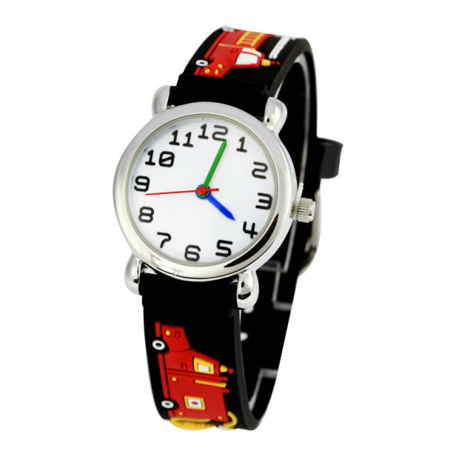 Cute Fire engines Lovely Cartoon Pattern Children Watches Fashion sport Boys Cas
