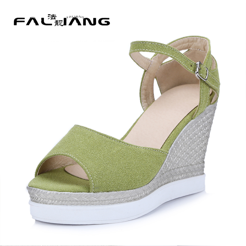 ФОТО Big Size 11 Sweet Buckle Strap Casual Wedges Women's Shoes Extreme High Heels Sandals Woman For Women Platform Shoes