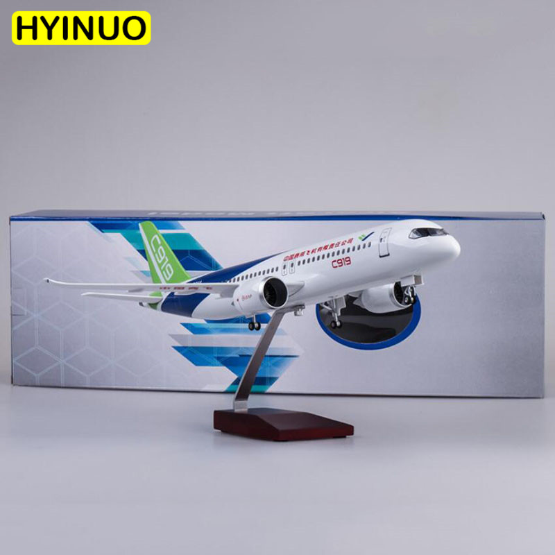 47CM 1/82 Scale Airplane China Commercial Aircraft C919 Airline Model W  Light & Wheel Diecast Plastic Resin Plane Collection