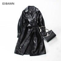 2019 Women Sheepskin Coats Long Black High Waist Belt Office Ladies Plus Szie Autumn Winter Genuine Leather Trench Coats Women