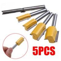 "shank כלים 5pcs Bits נתב ישר סט סגסוגת קשה 1/4"" כלים לעיבוד עץ קאטר Shank זמירה 1/4"" 3/8"" 1/2"" 5/8"" 3/4"" קוטר חיתוך (5)"