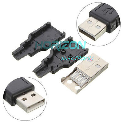 Rational 2pcs Usb2.0 Type-a Plug 4-pin Male Adapter Connector Jack&black Plastic Cover 100% Original