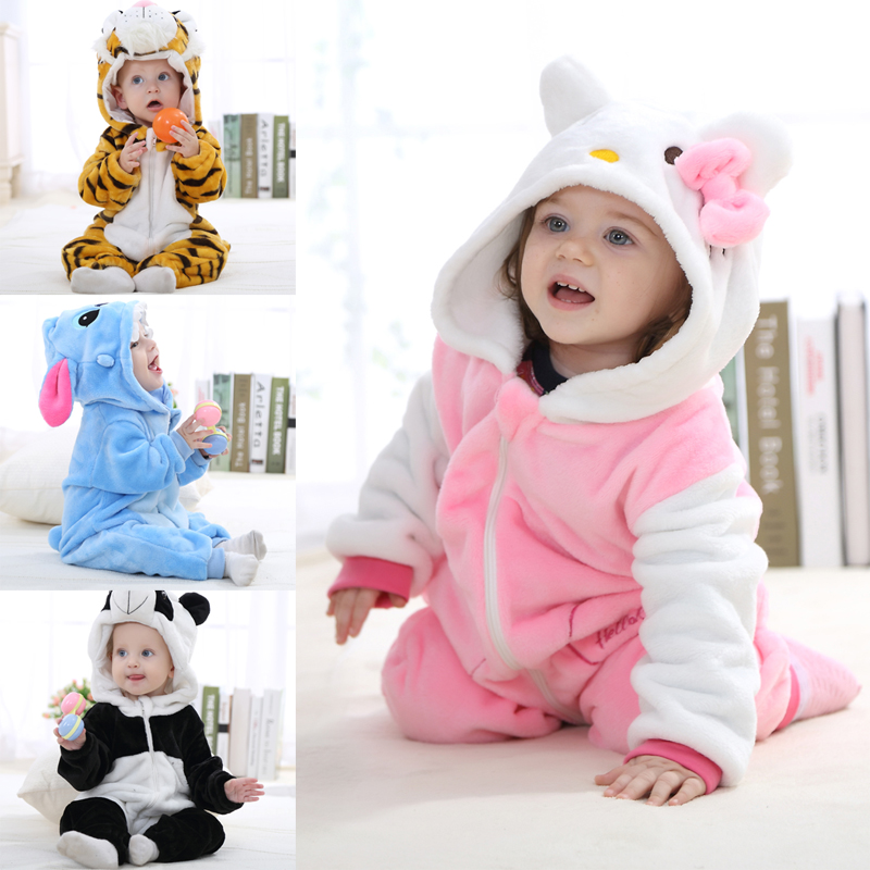 0-1-2 Years Old Flannel Baby Romper Spring Autumn Duck Panda Infant One Piece Suit Girls Boys Baby Clothes 2017 New Style
