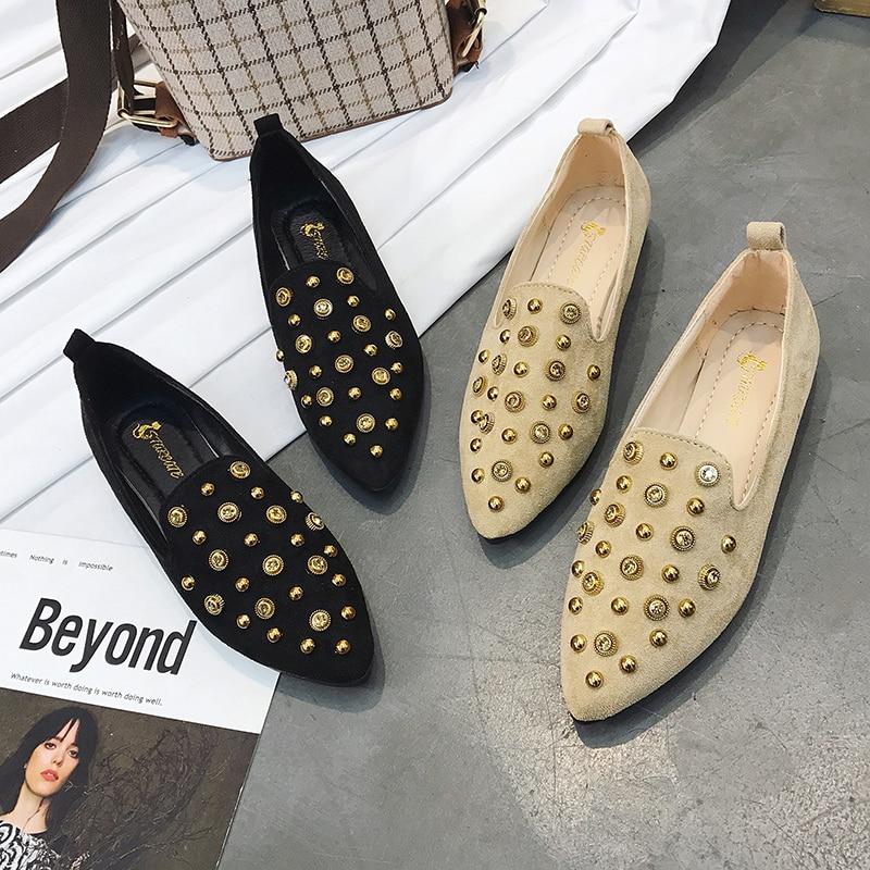 Talons Appartements Rivets Orteils Femmes Femme De Décoration Loisirs Slip Dames Confort Noir Pointés Plats 2018 Troupeau kaki on Chaussures tRwZqtB
