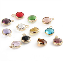 New Design 20pcs 8mm Gold Color Crystal Birthstones Pendant charms For Jewelry Making DIY Accessories