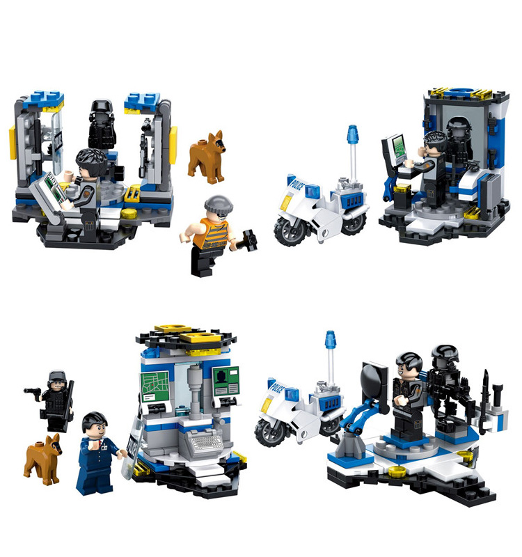 City super police station mini command center building block Thief policeman swat dog figures brick educational toy for children compatible lepin city block police dog unit 60045 building bricks bela 10419 policeman toys for children 011