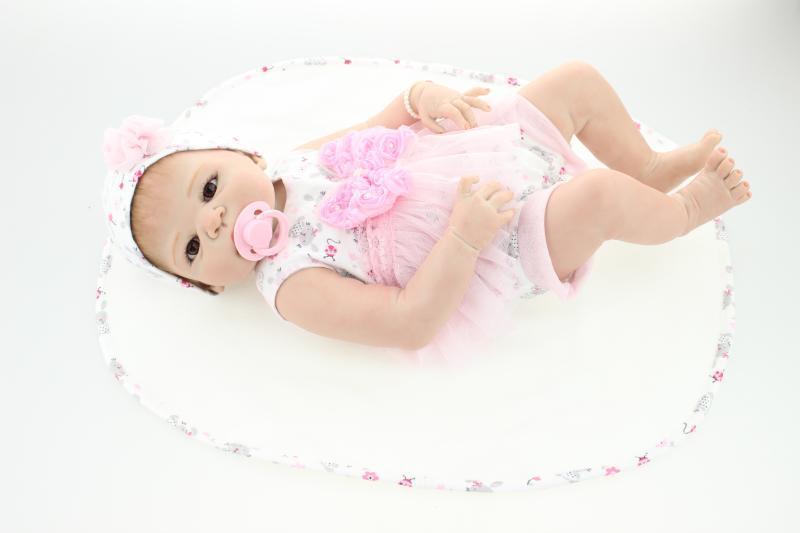 55cm Full Body Silicone Reborn Baby Girl Doll Toy Newborn Babies Alive Bebe Bathe Toy Girls Bonecas Kid Gift Present Bathe Toy