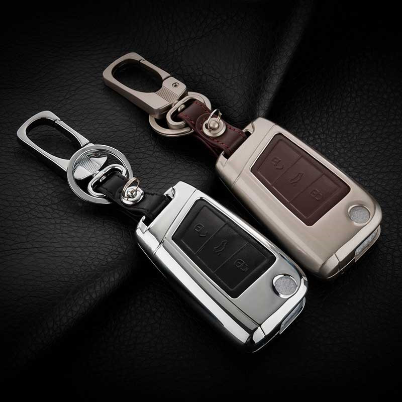 Zinc alloy+Leather Car Key Remote Cover Case For Volkswagen VW Tiguan MK2 2017 2018 2016 Passat B7 B8 CC For Skoda Superb A7