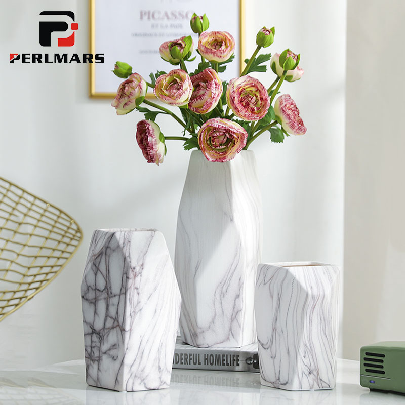 Nordic Simple Marble Texture Ceramics Arrangement Vase Living Room Desktop Ornaments Dried Flower Container Wedding Home Decor