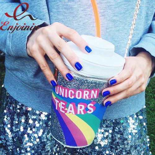 2016 nuevo diseño de moda personalizada bebida botellas de refresco de modelado Unicornio Lágrimas Novedad Bolso Bandolera