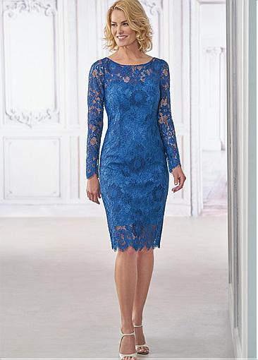 Modest Custom MadeLong Sleeves Scoop Blue Lace Cap Sleeve Knee-Length Mother Dress For Daughter Wedding