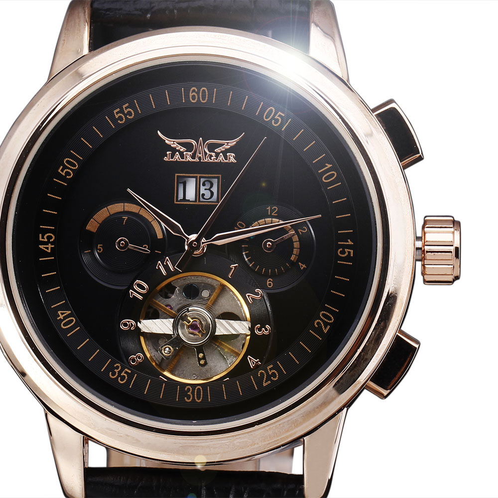 Jaragar Mechanical Watches Men Luxury Tourbillon Automatic Calendar Week Dial Leather Strap Dress Wristwatch 2016 jaragar fashion automatic mechanical men dress watches 24 hour week date solid dial leather band simple wristwatch gift