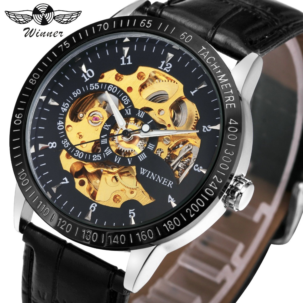 WINNER Fashion Men Automatic Mechanical Watch Leather Band Golden Skeleton Dial Luminous Hands Casual Male T-WINNER Watches fashion fngeen brand simple big dial skeleton automatic mechanical men casual wrist watch stainless steel band horloges 6609g