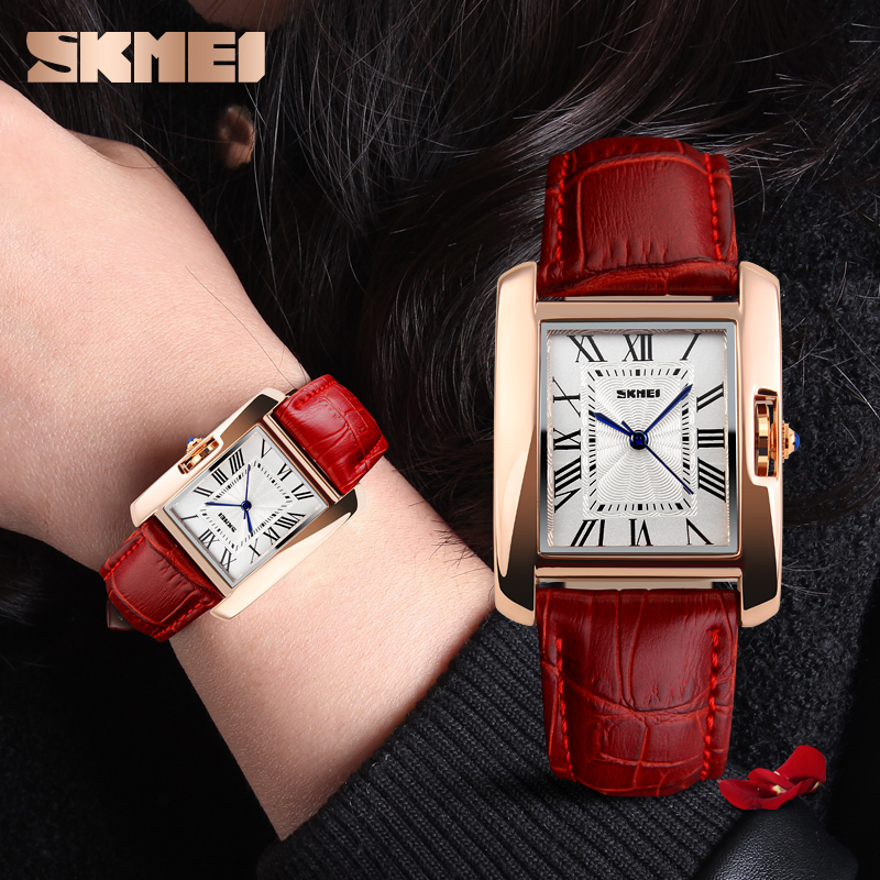 SKMEI Top Brand Women Fashion Quartz Watches Luxury Casual Leather Watch Strap Analog Lady Dress Wristwatches Relojes Mujer 1085 roman number square dial skone brand watches women luxury top quality fashion casual quartz watch leather wristwatches relojes