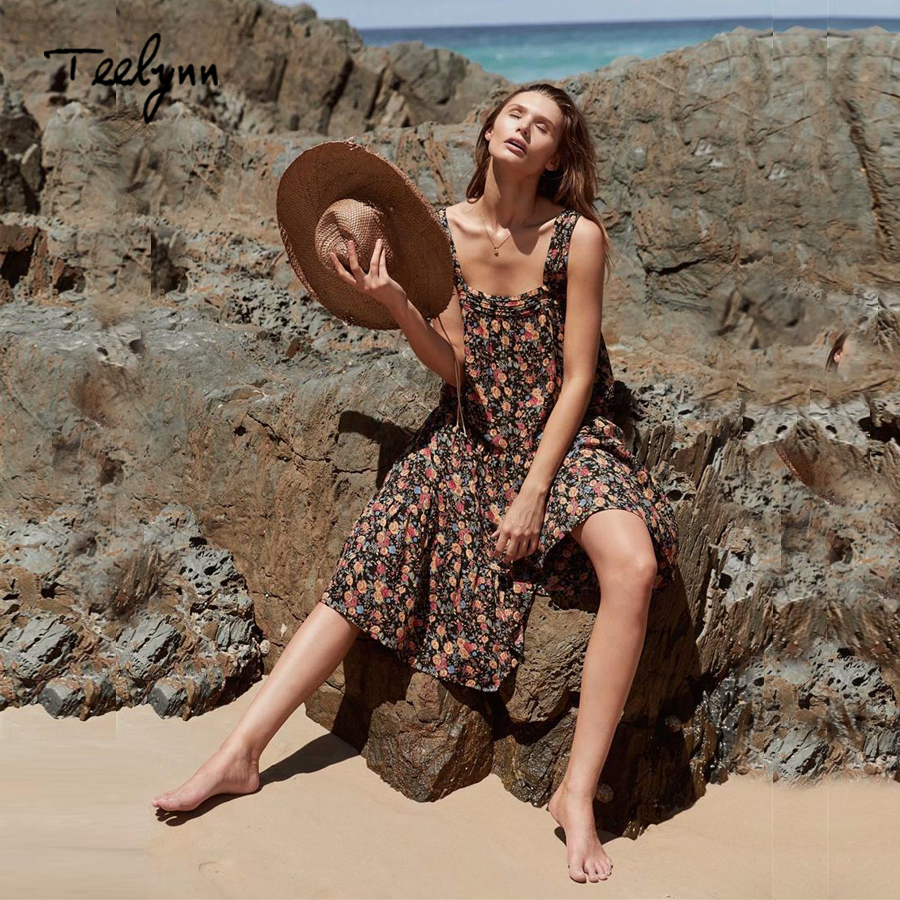 TEELYNN strap summer dresses 2018 floral print sexy sleeveless slash neck hippie