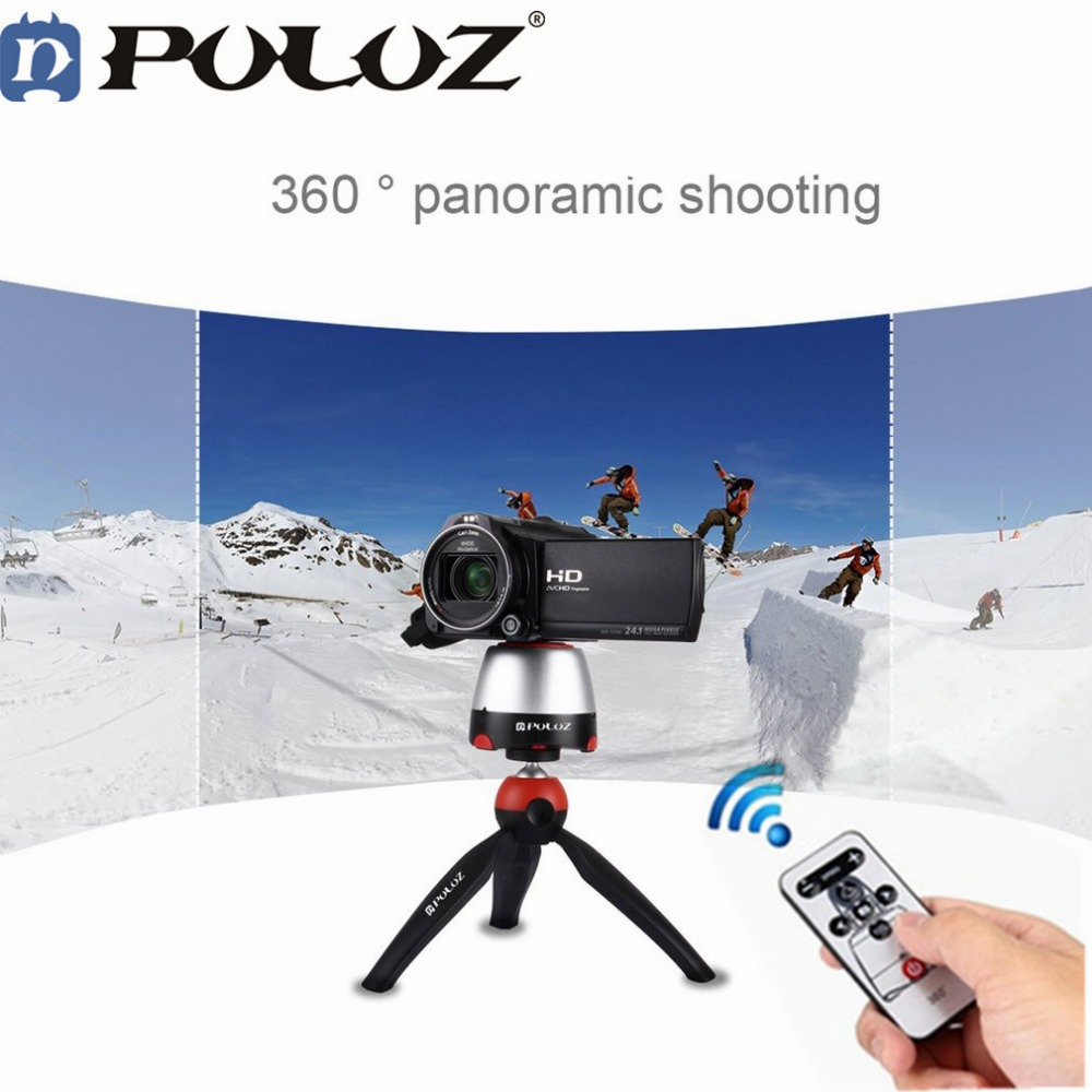PULUZ 360 Degree Rotation Panoramic Tripod Heads Panning Rotating Time Lapse tripod head with remote control For GoPro Camera