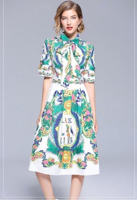 Women Summer Dresses Casual Short Sleeve Lace Up Shirt Dress Floral Letters Vestidos Playa Verano 2018 Robe Longue Femme Ete