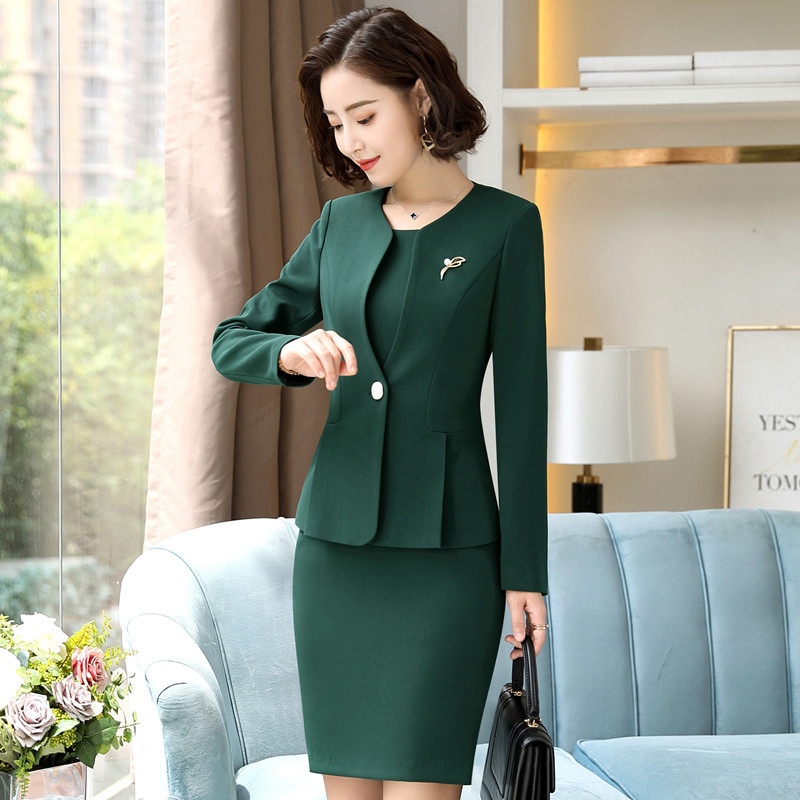 New 2019 Women Office Dress Suits Long Sleeve Jacket And Mini Dress Ladies 2 Two Piece Set Outfits Womens Dress With Jacket