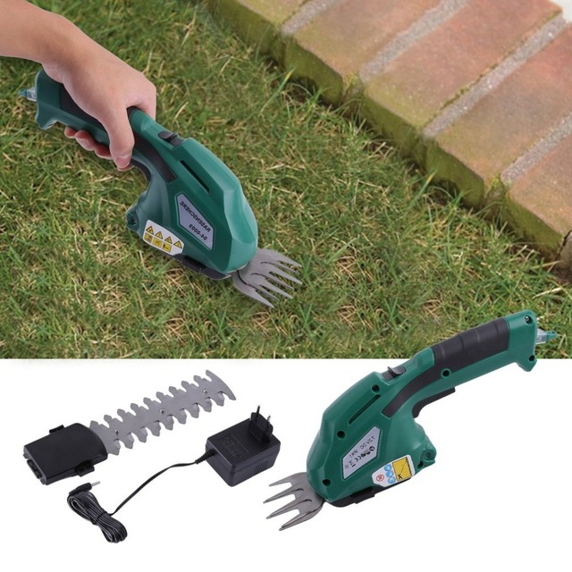 7.2V Plug-In 2In1 Electric Handhold Cordless Grass Clippings Pruning Machine Branches Lawn Cutting Shears Gardening Scissors