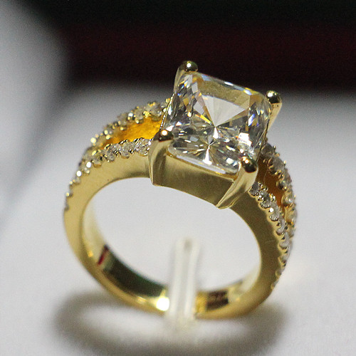 au750genuine gold 385ct solid yellow gold nscd quality reliable synthetic diamonds ring for women engagement - Gold Wedding Rings For Women