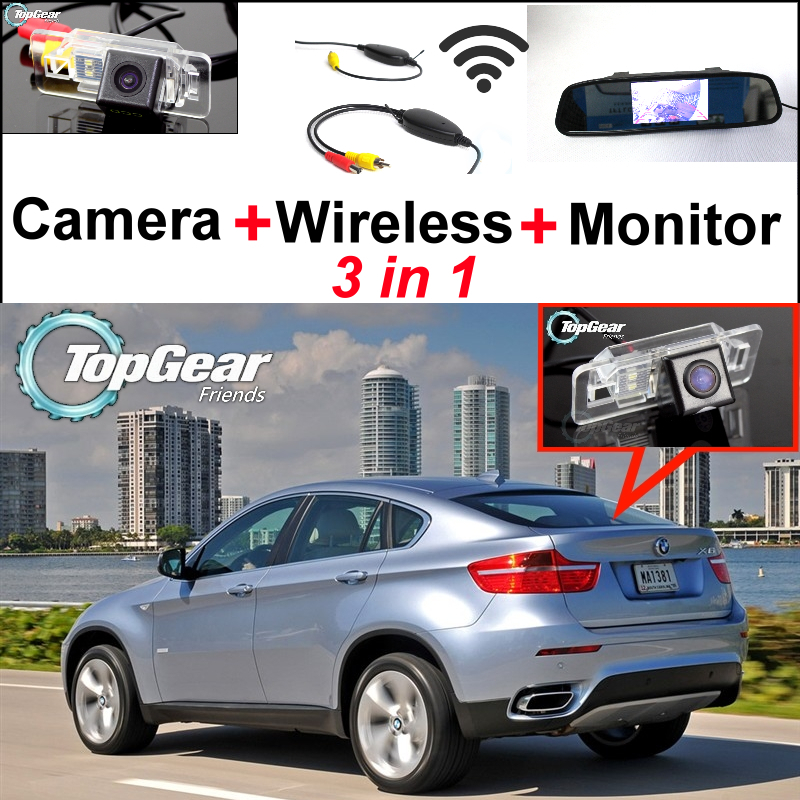Фотография Special Rear View WiFi Camera + Wireless Receiver + Mirror Screen DIY Rear View Parking Backup System For BMW X6 E71