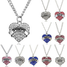 Rhinestone Fashion Love Heart Charm Pendant Necklace For Sister Daughter Mom Nana Family Jewelry Gift(China)