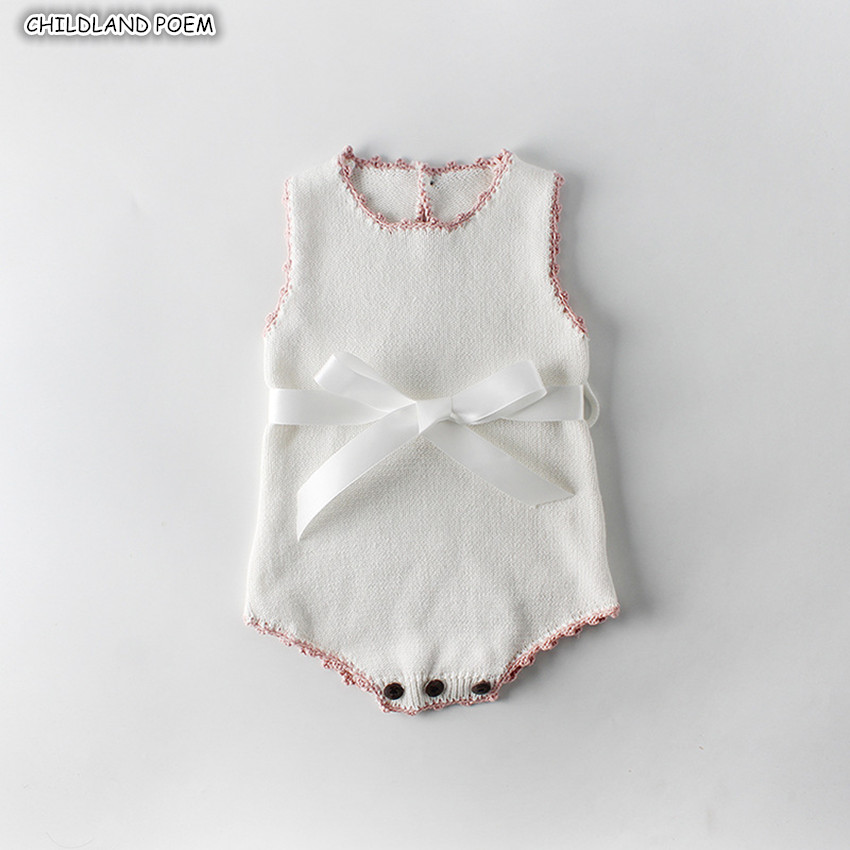 Newborn Baby Girl Clothes Spring Bow Knitted Baby Clothes Baby   Romper   For Girl 100% Cotton Infant Baby Girls Jumpsuit   Romper