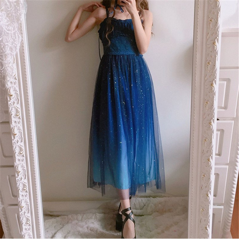 Japanese Fashion Galaxy Blue Starry Dress Women Lolita Summer JSk Soft Sister Cute Fairy Dress Lace
