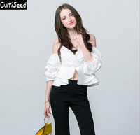 S XXXL Newest Sexy Puff Sleeves Ruffled White Blue Shirts Jacket Women Strapless Low Cut V neck High Waist Shirts