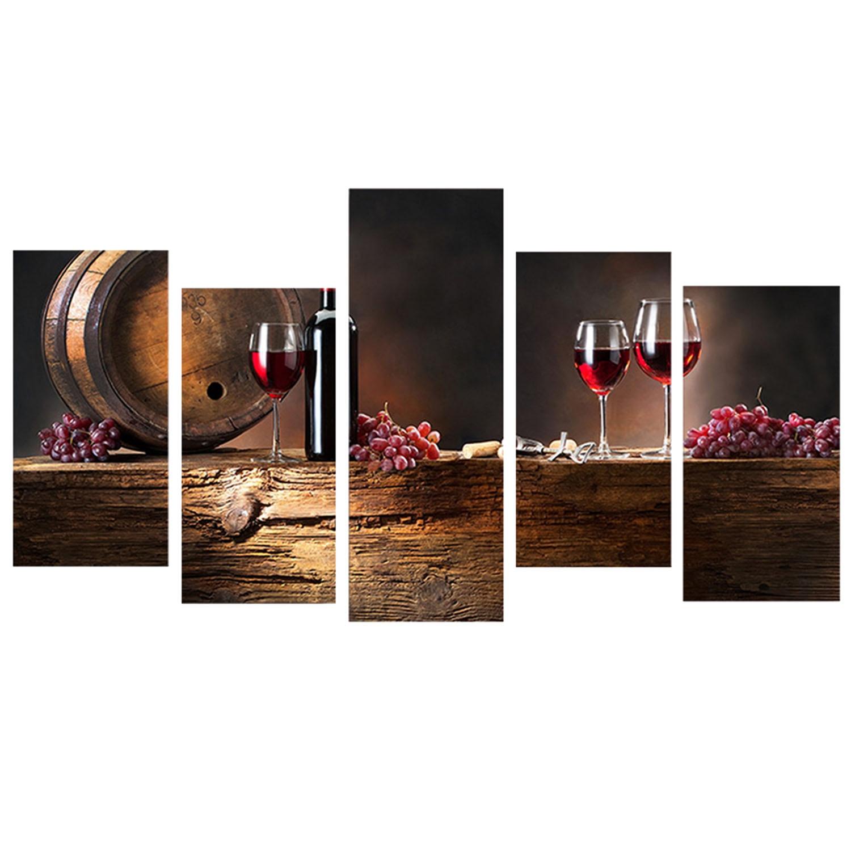 5 PCS Elegant Wine Bottle Style Printed Canvas Set Decoration Wall Art for Home Living Room Bedroom Office Hotel Pub - intl