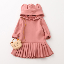 Spring Autumn Cute Rabbit Ears Cotton Baby Girl Dresses Hooded Long Sleeve Princess Dress Kids Party Clothing 2 3 4 5 6 7 Years lovely cute 3d rabbit child baby girl cotton dress korean long sleeve autumn sweet kids children clothing pink grey red page 4