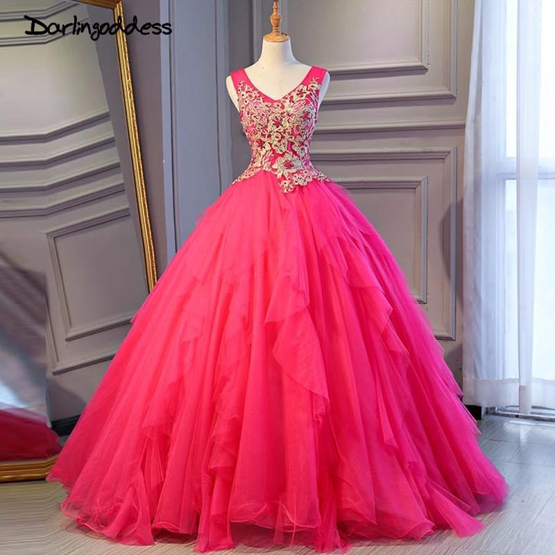 Darlingoddess 2018 New Arrival Ball Gown V-neck Long Evening Dresses Party Elegant Vestido De Festa Rose Red Prom Gowns 2018