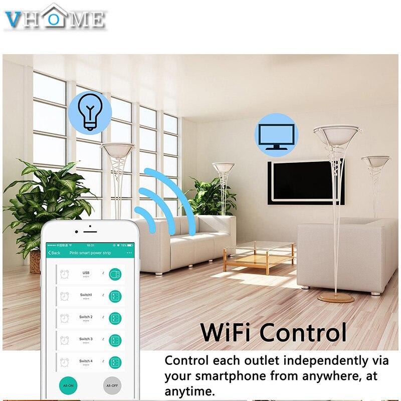 Prise intelligente prise Eu Wifi Smart multiprise Usb prise Eu 16A 4000 W vie intelligente App Google home Alexa commande vocale pour la maison - 5