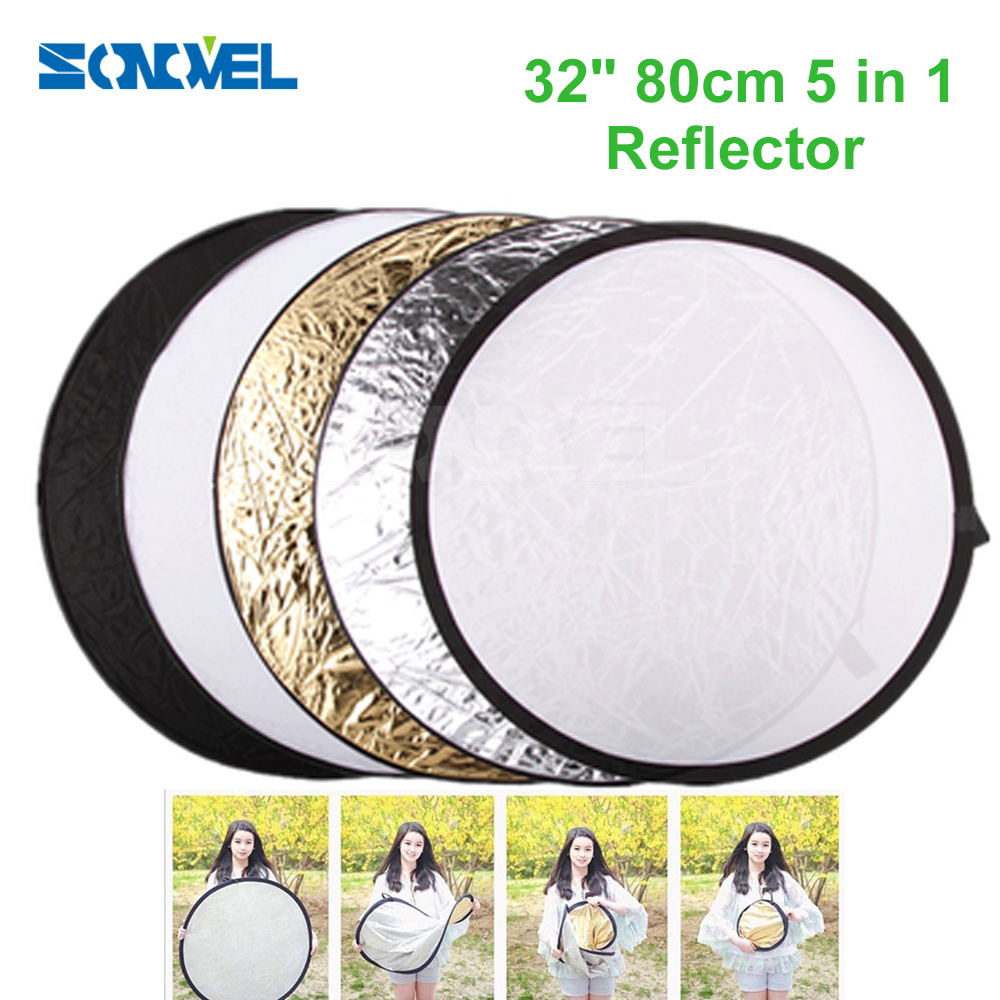 32 80cm 5 in 1 Round Photography/Photo Reflector New Portable Collapsible Light Round Reflector with Zipped Round Carrying Bag цена