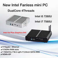 Nuovo KabyLake Intel Core i5 7260U i7 7560U/7565U 3.4/3.8GHz Mini PC Fanless Mini PC porta Ottica 2 * lan Iris Più Grafica 640 DDR4