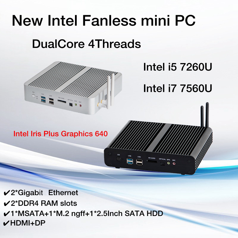 New KabyLake Intel Core I5 7260U I7 7560U/7660U 3.4/3.8GHz Fanless Mini PC Optical Port 2*lan Iris Plus Graphics 640 DDR4
