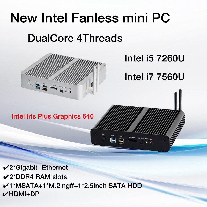 Nouveau KabyLake Intel Core i5 7260U i7 7560U/7660U 3.4/3.8GHz sans ventilateur Mini PC port optique 2 * lan Iris Plus graphiques 640 DDR4