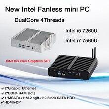 Novo kabylake intel core i5 7260u i7 7560u/7660u 3.4/3.8ghz porta ótica fanless mini pc 2 * lan iris mais gráficos 640 ddr4