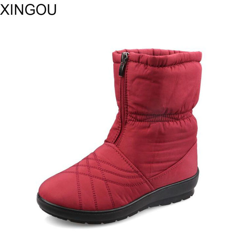 New 2017 snow boots female ankle boots Solid thickening warm winter women's shoes waterproof non-slip warm cotton shoes women мужские часы fossil jr1356