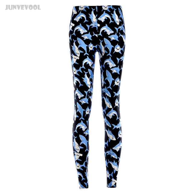 Sexy Leggings Shark Women Full Printed Pants Women's Animal Punk Gothic Black Stretchy Trousers Seamless Capris Plus Size Pant