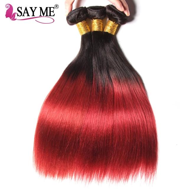 Say Me Ombre Brazilian Straight Hair Bundles 1bburgundy Human Hair