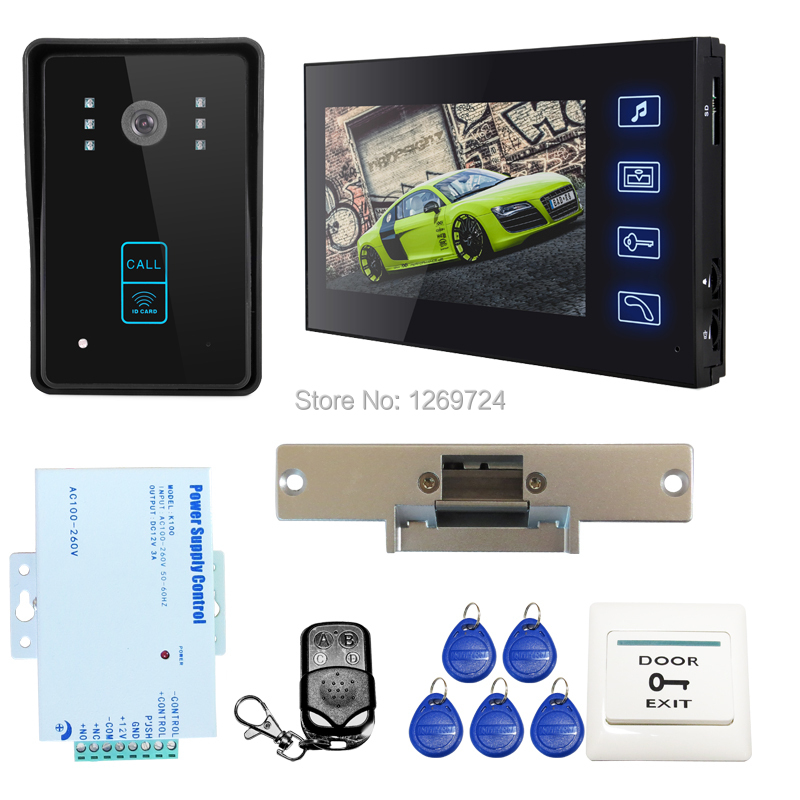 FREE SHIPPING 7 LCD Wired Video Intercom Door Phone Recording Monitor System RFID Door Camera + Electronic Strike Lock IN STOCK