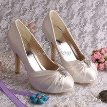 (20 Цветов) Wedopus Пользовательские Ручной Работы Свадебная Обувь Атласа Цвета Слоновой Кости Свадебные Насосы Высоких Каблуках