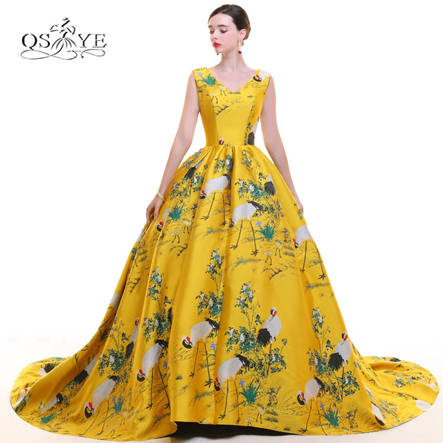 2018 New Fashion 3d Floral Print Formal Evening Dress Long Prom