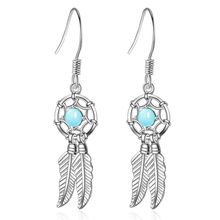 KOFSAC Vintage Drop Earrings For Women 925 Sterling Silver Jewelry Charm Crystal Blue Feather Earring Girl Valentines Day Gifts