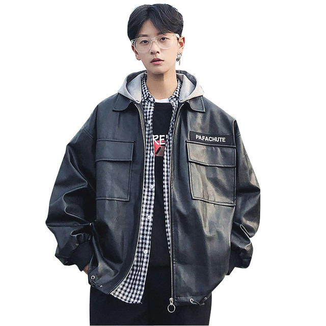 5c4a3e327af Men PU Leather Jacket Male Women Couple Fashion Hip Hip Streetwear Loose  Hooded Motorcycle Jacket Autumn