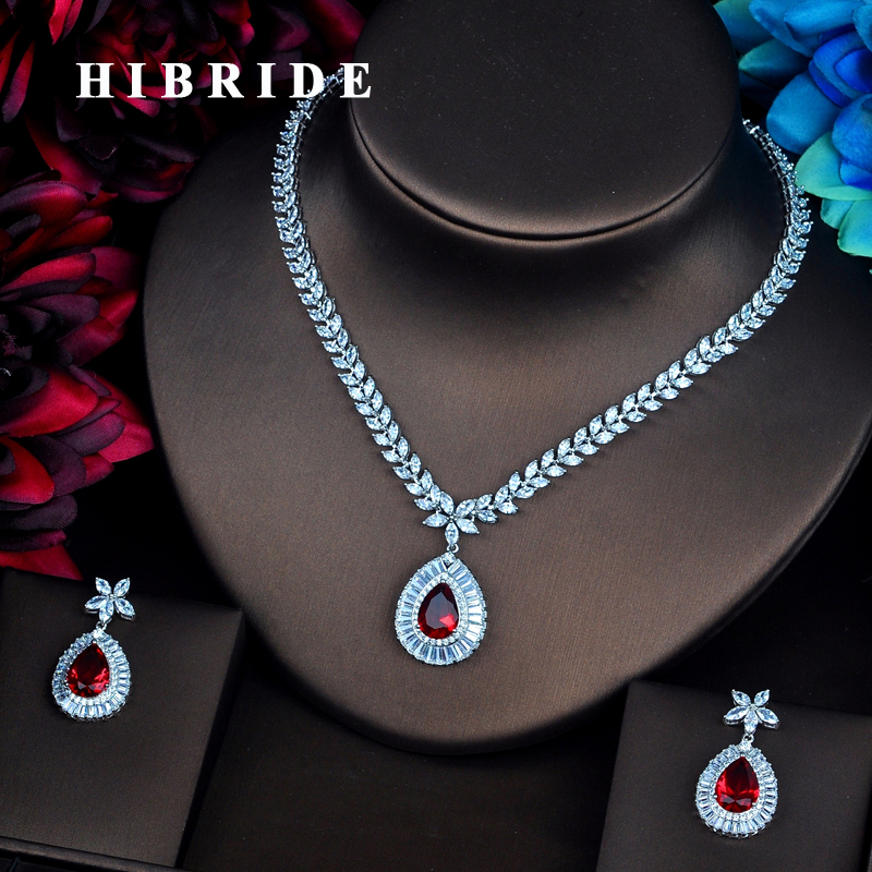 HIBRIDE Sparkling Red Cubic Zirconia Jewelry Sets Luxury Earring&Necklace Sets Charm Valentines Day Gifts Free Shipping lN-502HIBRIDE Sparkling Red Cubic Zirconia Jewelry Sets Luxury Earring&Necklace Sets Charm Valentines Day Gifts Free Shipping lN-502