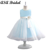 2017 New Arrival Light Blue Flower Girl Dresses With Sashes Kids Birthday Paty Gowns Cute Girl