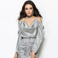 Sexy V Neck Open Shoulder Halter OL Office Blouse 2017 Women Gray Backless Shirt Feminino Top