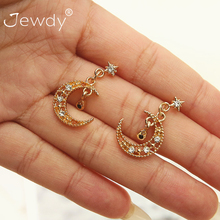 Fashion Hollow Moon Star Classic Cubic Zircon Crystal Earrings For Women Round Girl Jewelry Multi Color Trendy